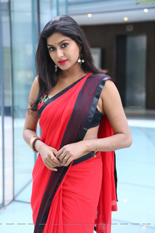 Akshatha Red Sowmya Venugopal Saree