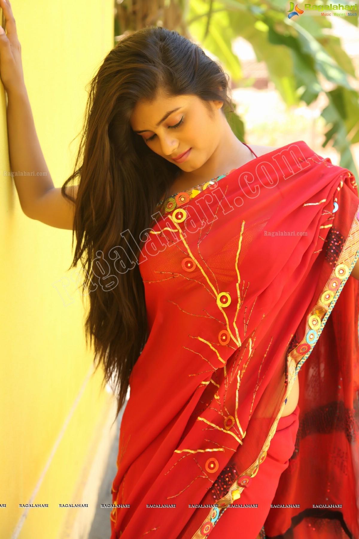 Hot Indian Model Sheetal Spicy Red Sowmya Venugopal Saree