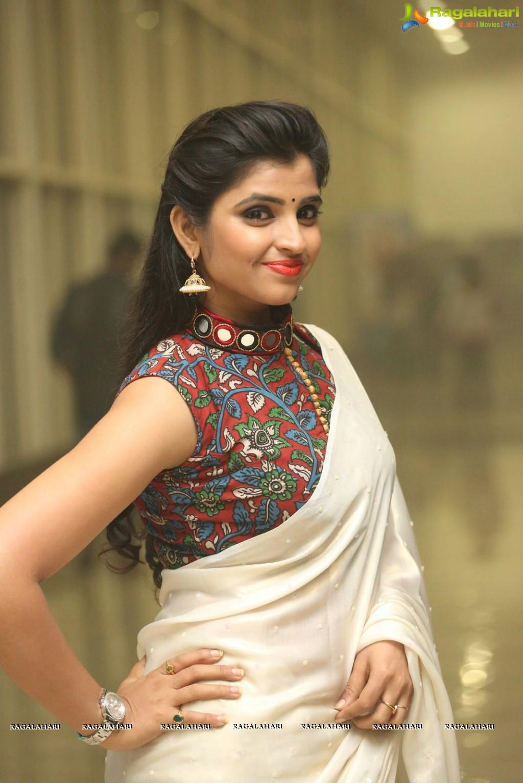 syamala in sleeveless designer blouse saree